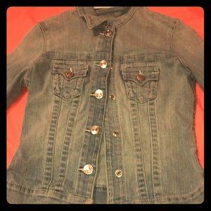 True Religion Blue Jean distress jacket.